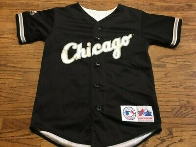 3a8e2bf32 MLB Chicago White Sox Baseball Button Up Youth Jersey Majestic Reversible