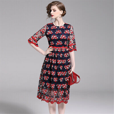 2019 New Womens Fashion Flare Skirts Flower Lace Breathable Sleeve Dress Leisure