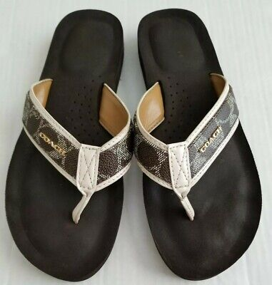 6f5e131ea26f COACH Judy Signature C Logo Flip Flop Sandals Dark Brown Chalk Womens Sz 8.5