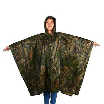 Waterproof Military Style Rain Poncho Hooded Ripstop Woodland Camo Camping USA