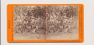 1870's Rare Stereo View Samoa Tribal Group Bare Chested & Bare Breasted + Childr