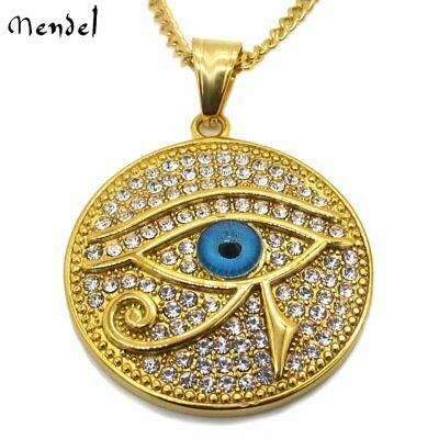 Mens Egyptian Eye of Horus Pyramid Gold Diamond Pharaoh Necklace Pendant Hip Hop