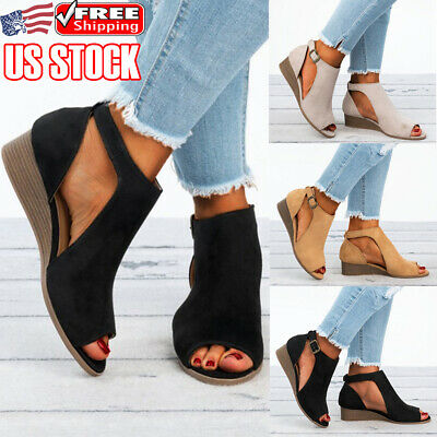 e3c4549be07 WOMENS PLATFORM WEDGE Heels Sandals Ladies Buckle Summer Espadrilles ...