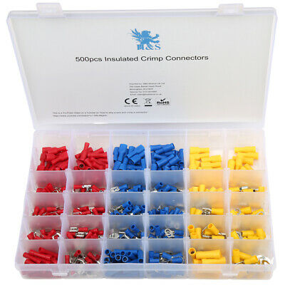 500pcs Electrical Cable Wire Connectors Assorted Insulated Crimp Terminals Spade