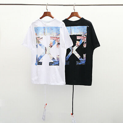 1499c6e91a64 Unisex Off White Oil Painting Arrow Hip-hop Sports Cotton T-shirt Tee Tops