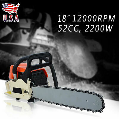 "18"" 58Cc Gasoline Chainsaw Cutting Wood Gas Chain Saw Aluminum Crankcase"