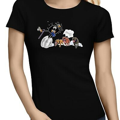 Brook Escapes From Bull Dog One Piece Parody Black T-Shirt Monkey D. Luffy S-6XL