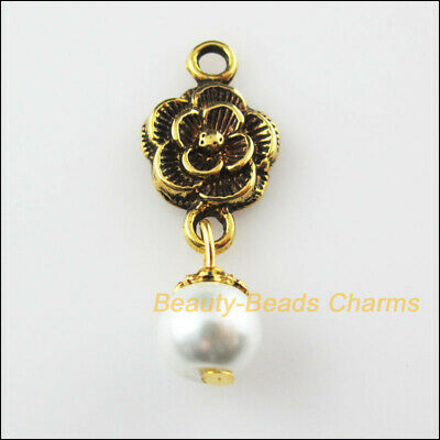 8 New Rose Flower Charms White Glass Beads Pendants Antiqued Gold Tone 12x32mm