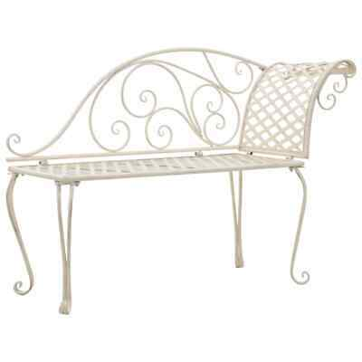 vidaXL Metal Garden Chaise Lounge Antique White Scroll-patterned Patio Bench