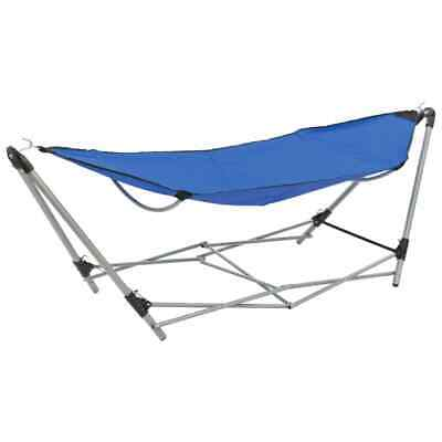 vidaXL Hammock with Foldable Stand Blue Outdoor Portable Camping Travel Bed