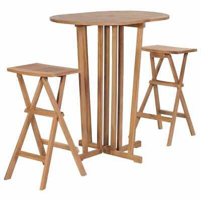 vidaXL Solid Teak Wood 3 Piece Folding Bar Set Outdoor Table Stool Furniture