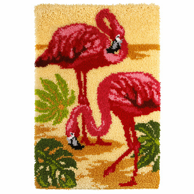 Orchidea Latch Hook Rug Kit - Flamingo - Needlecraft Kits - FREE UK P&P