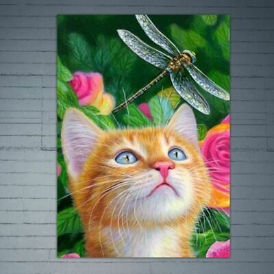 DIY 5D Full Diamond Embroidery Cat Dragonfly Painting Cross Stitch Home Decor