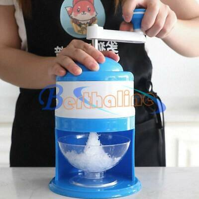 Portable Hand Crank Manual Snow Cone Maker Machine Ice Shaver Crusher Shredding
