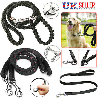 Strong Dog Lead Leash Head Collar Soft Nylon Coupler Padded Handle Pet Puppy New