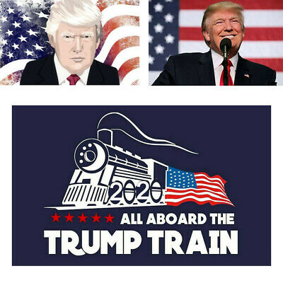 "10Pcs/Set  Donald Trump Bumper Sticker "" 2020 All Aboard The Trump Train"" US 2h"