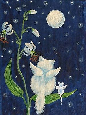 1.5x2 DOLLHOUSE MINIATURE PRINT OF PAINTING RYTA 1:12 SCALE STARRY NIGHT CAT ART