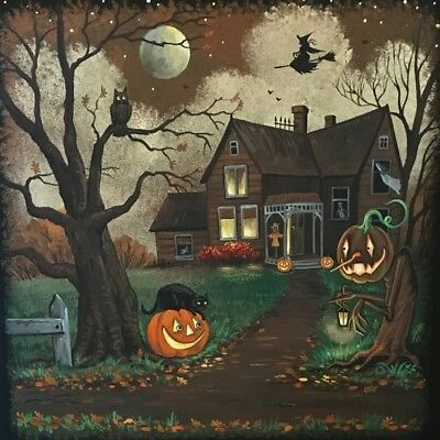 4x4 print of painting RYTA HALLOWEEN BLACK CAT OWL WITCH PUMPKIN HAUNTED HOUSE