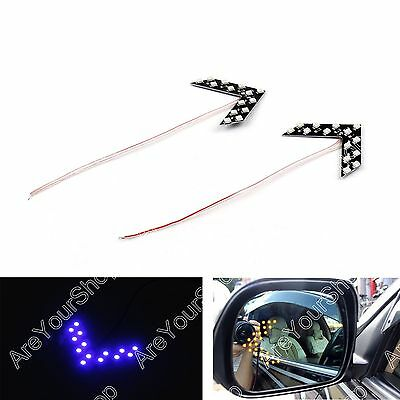 2x Arrow Panel 14 SMD LED For Car Side Mirror Turn Signal Indicator Light Blue