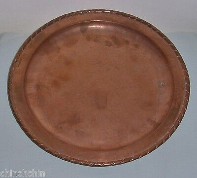 ARTS CRAFTS Signed OLBUR Incredible RIM Detail COPPER TRAY Hand Beaten ENGLISH