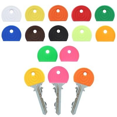 24 x COLOURED KEY CAP COVERS Head Top ID Marker Tag Door Lock Keyring Identifier