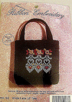 Janlynn Mini- LIL' TOTE- Ribbon Embroidery Kit #00-163- New / Open Pkg
