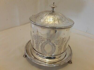 Antique Decorative Silver Plate Biscuit Box By Hukin & Heath On 3 Claw Feet