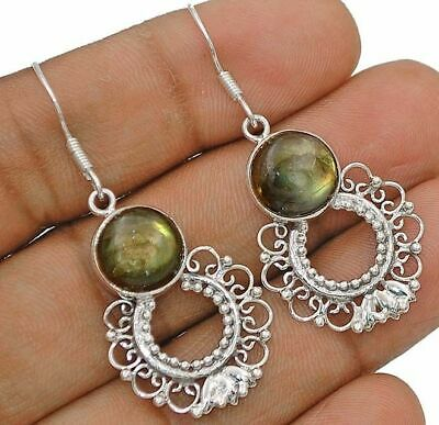 78123cf59 Natural Earth Mined Fire Labradorite 925 Sterling Silver Earrings Jewelry  H4-1