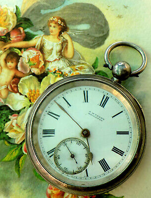 55115c20cf07 Bello Reloj Bolsillo Antiguo Plata J W Terry Brighton Pocket Watch Silver  Uhr