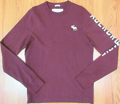 a9c519f84 ABERCROMBIE & FITCH MUSCLE FIT ens 100% COTTON CREWNECK SHIRT MAROON Sz  LARGE, ...