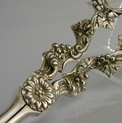 BEAUTIFUL ENGLISH SOLID SILVER GRAPE SHEARS 1972 HEAVY 118g