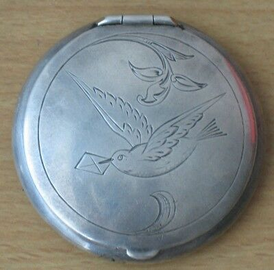 Antique Russian Sterling 875 Silver Ag Soviet VTG Puff Box Powder compact Jewelr