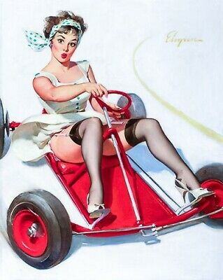 GIL ELVGREN 8x10 PIN-UP GIRL ART MINT PRINT-1950s GoKart Racer Thighs High Heels