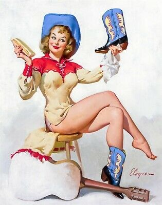 GIL ELVGREN 8x10 PIN-UP GIRL ART MINT PRINT - Sexy Cowgirl/Boots/Legs/Cheesecake