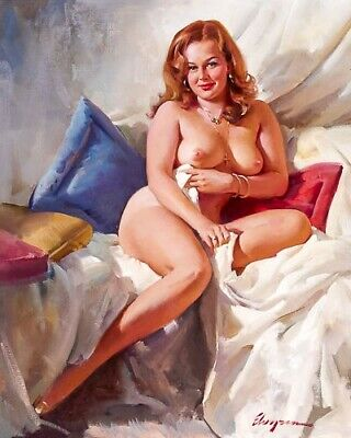 ELVGREN 8x10 PIN-UP GIRL ART PRINT-Wife Curvy Nude Redhead Big Boobs Nipples F1