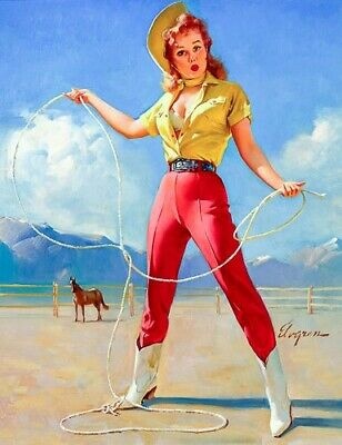 GIL ELVGREN 8x10 PINUP GIRL MATTE PRINT-1950s Rodeo Redhead Cleavage Rope