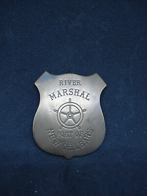 River Marshal Port of New Orleans SOLID BRASS w/Antique Finish OLD  PIN 110