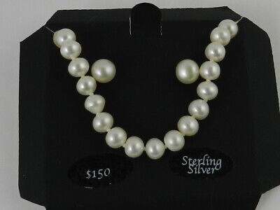 36ca6893cf NEW MACY'S CULTURED Fresh Water Pearl Necklace And Earrings Sterling ...