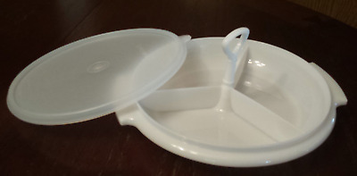 Vintage NOS Tupperware Suzette Divided Relish Dish #608 Seal Lid & Handle White