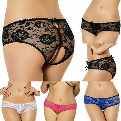 Women Open Crotch Flower Lace Underwear Brief Panties G-string Lingerie Thong SS