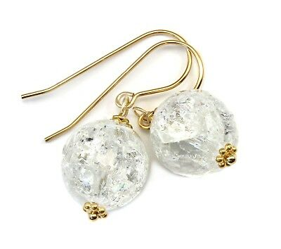 Clear Quartz Earrings Round Crackle Mosaic Facet Natural Drops Sterling 14k Gold
