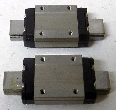 """Two Nsk 09-1 Linear Bearing Slide Rail Stage Mounting Block Assembly 1 3/4"""" Long"""