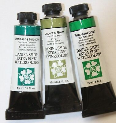 3 DANIEL SMITH Extra Fine Watercolor Paint:15ml-GREENS-Ser1