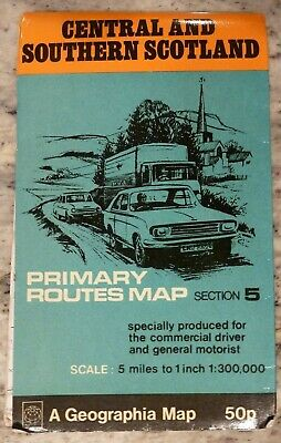 Geographia Road Map Vintage CENTRAL &  SOUTHERN SCOTLAND 1980's Travel