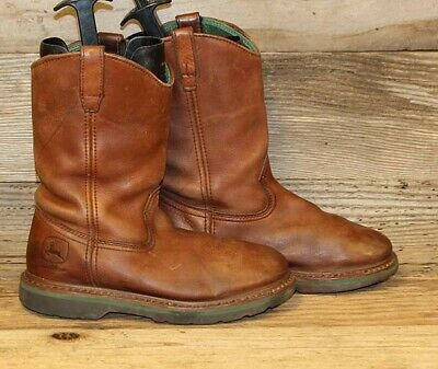 250daf76ad1 JOHN DEERE MENS Brown Leather Pull-On Work Rancher Wellington Boots Sz 7.5 M