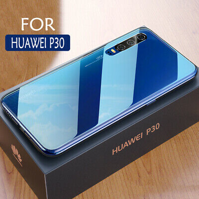 For Huawei P30 Pro Case Covers Clear Tempered Glass Back TPU Bumper Protective