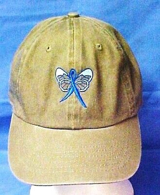 Blue Awareness Ribbon Baseball Butterfly Hat Khaki Tan Colon Cancer Child Abuse