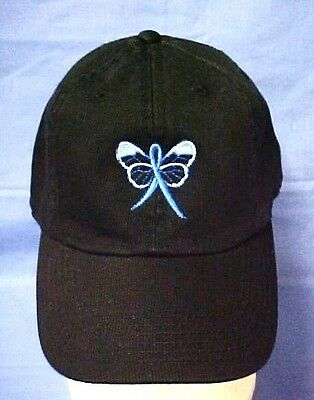 Blue Awareness Ribbon Baseball Hat Butterfly Black Cap Colon Cancer Child Abuse