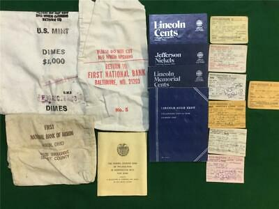 Junk DRAWER Lot (3) BANK Bags (4) COIN Books FEDERAL Reserve BOOK (7) Licenses