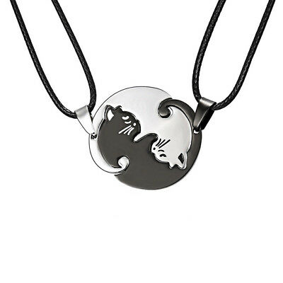 Stainless Steel Animal Cat Pendant Necklace Couples Necklace Jewelry LD